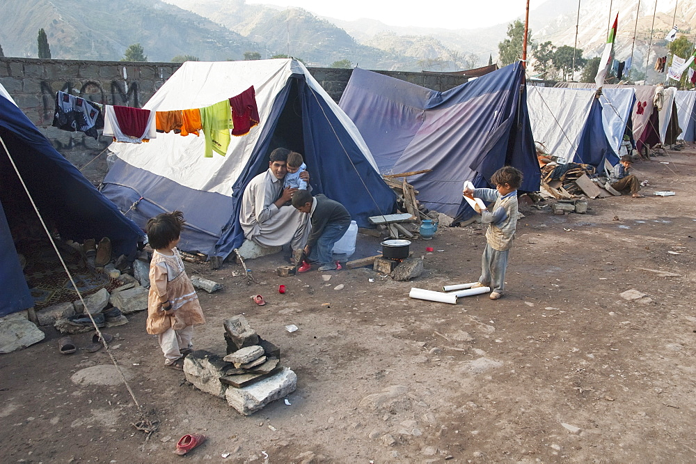 People In A Relief Camp After The 8 October 2005 Earthquake, Muzaffarabad, Azad Kashmir, Pakistan