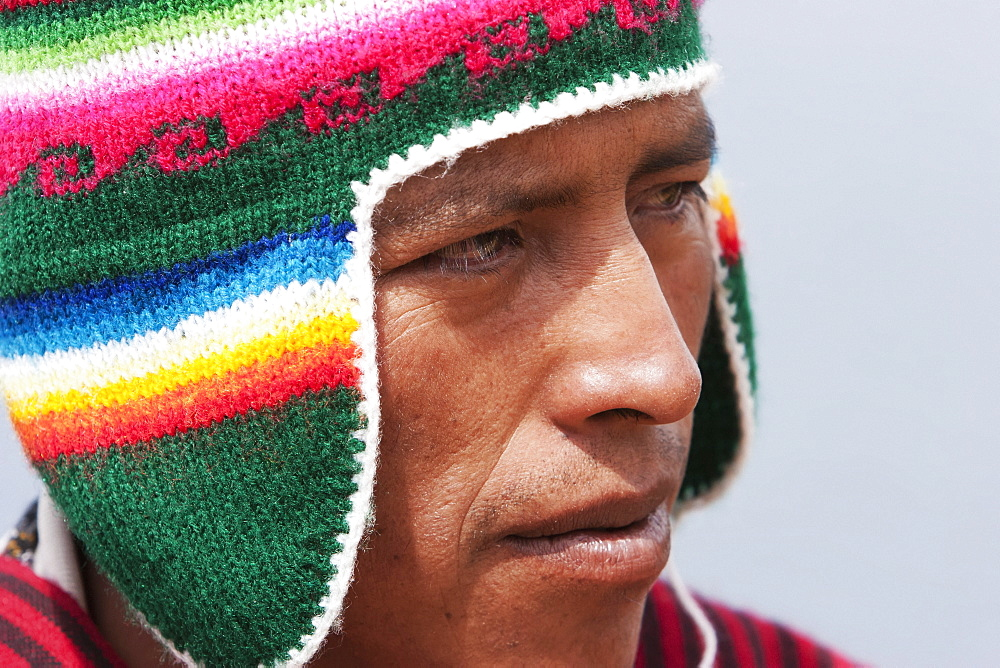 Aymara Man, Isla Del Sol In Titicaca Lake, La Paz Department, Bolivia