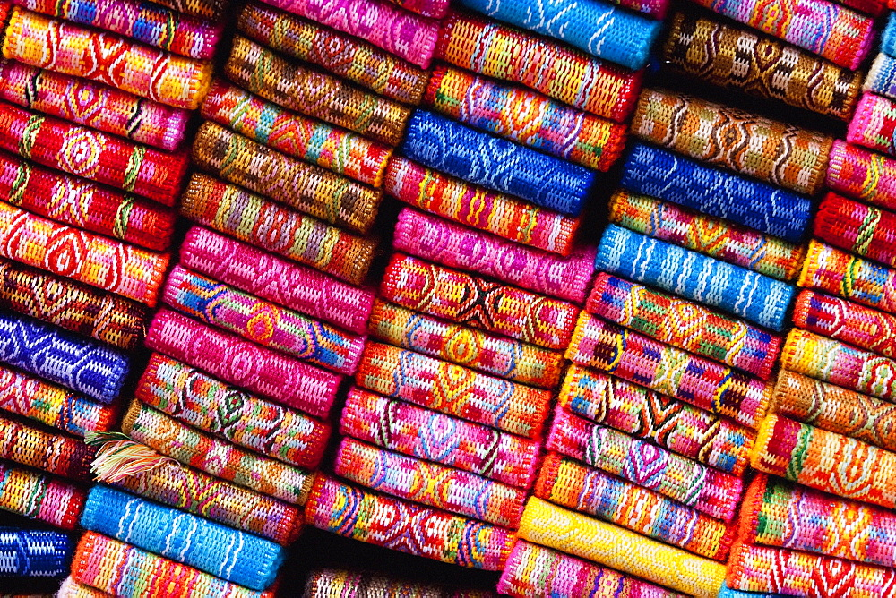 Andean Textile Belts For Sale At The Saturday Crafts Market, Otavalo, Imbabura, Ecuador