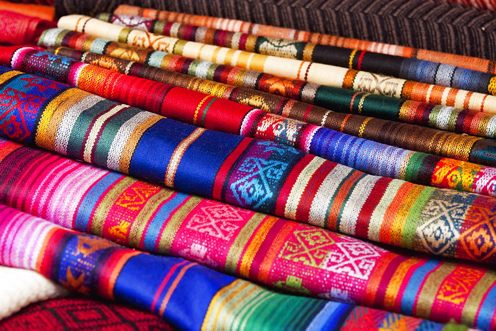 Andean Textiles For Sale At The Saturday Crafts Market, Otavalo, Imbabura, Ecuador