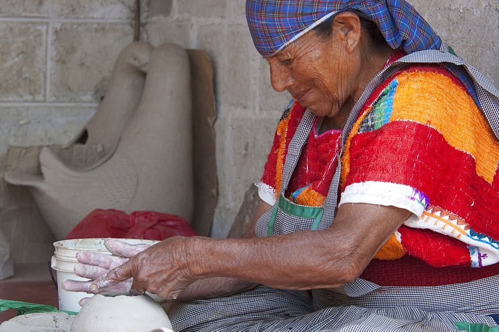 Tzeltal Maya Woman Potter Working The Clay, Amatenango Del Valle, Chiapas, Mexico