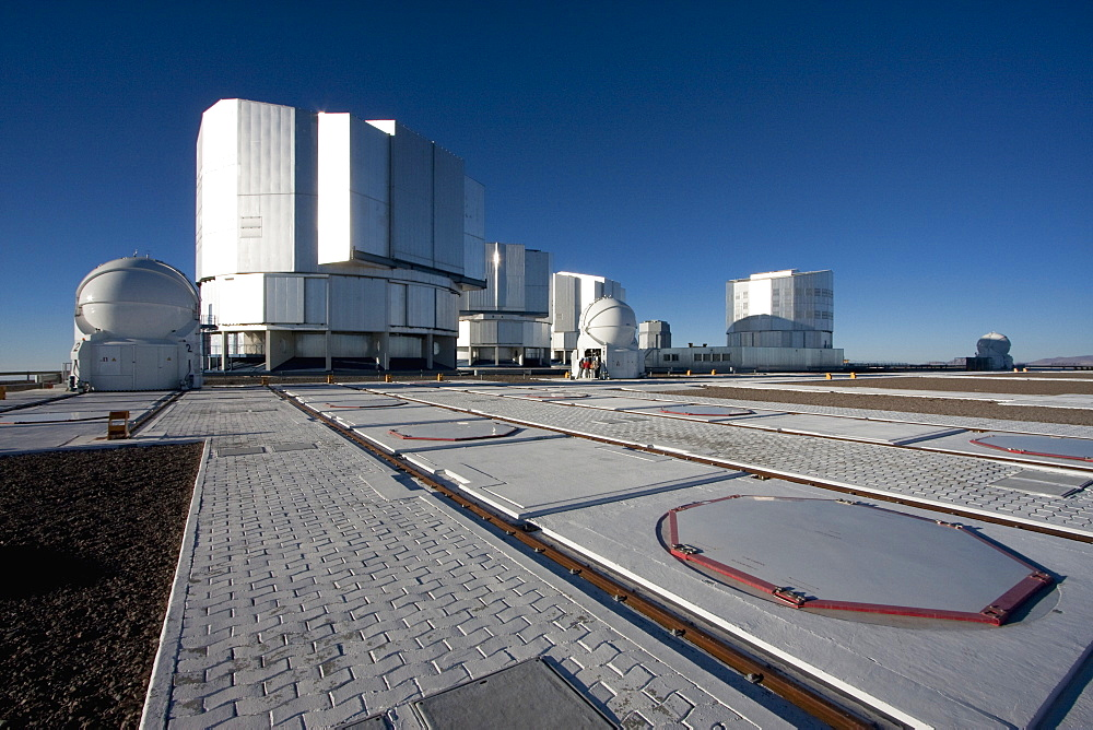 Unit Telescopes And Auxiliary Telescopes Belonging To The Very Large Telescope (Vlt) On The Platform Operated By The European Southern Observatory At Paranal, Antofagasta Region, Chile