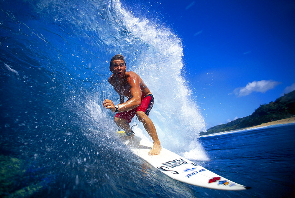 Hawaii, Surfer Close-Up Coming Out Of Wave, Pancho B1362