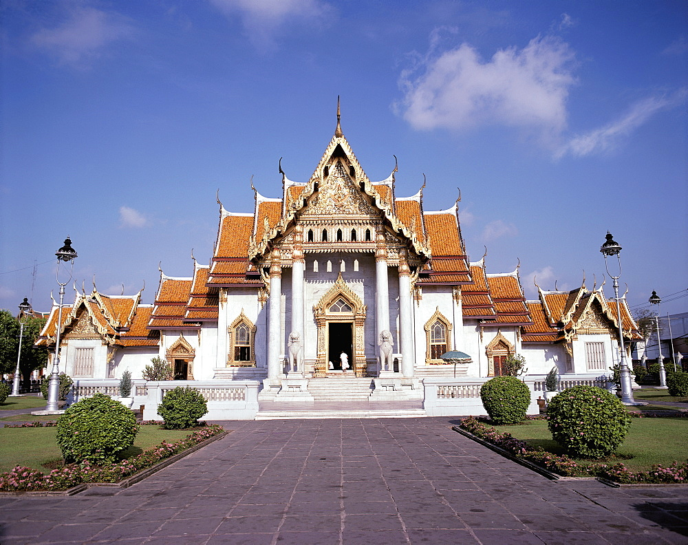 Thailand, Bangkok, Marble Temple Exterior Front View Architecture A75A