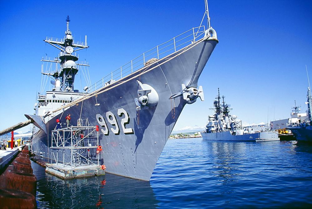 Hawaii, Oahu, Pearl Harbor, View Of Military Ships