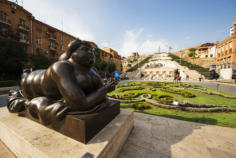 Woman Smoking a Cigarette, sculpture by Fernando Botero on display at the Cafesjian Museum of Art in the Yerevan Cascade, Yerevan, Armenia