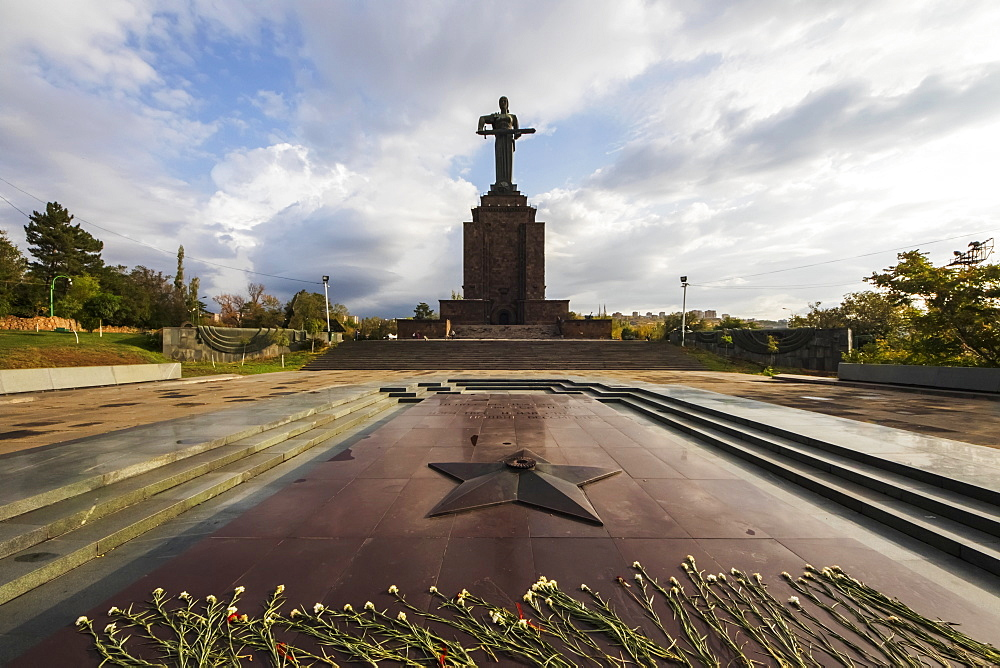 Commemoration of Soviet Armenia's participation in the second World War and monumental statue of Mother Armenia in Victory Park, Yerevan, Armenia