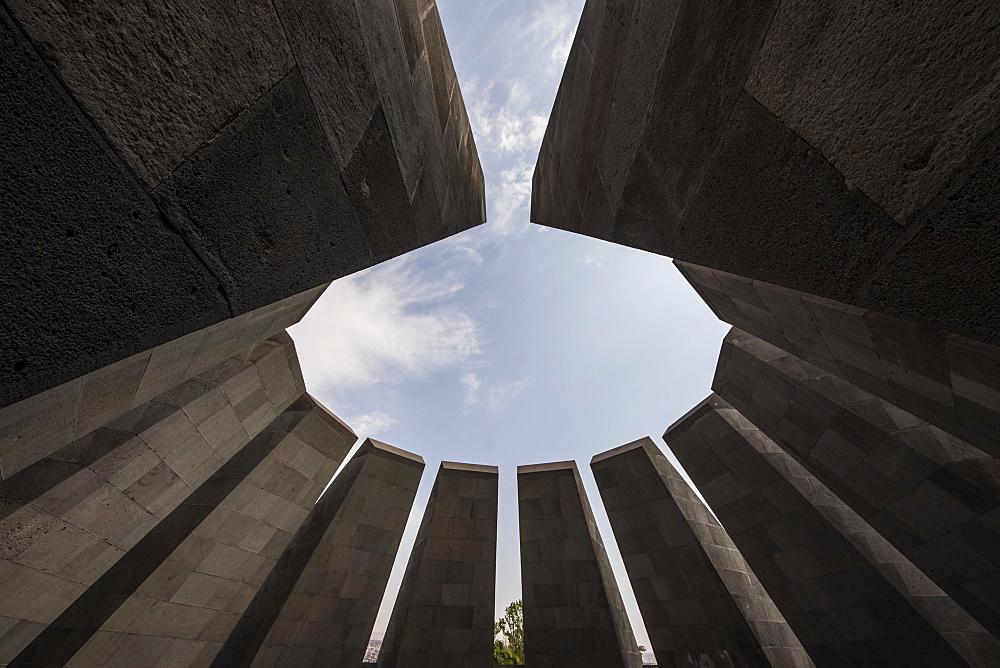 Twelve slabs positioned in a circle, representing the twelve lost provinces in present-day Turkey at the Armenian Genocide memorial complex on Tsitsernakaberd hill, Yerevan, Armenia  - 1116-39238
