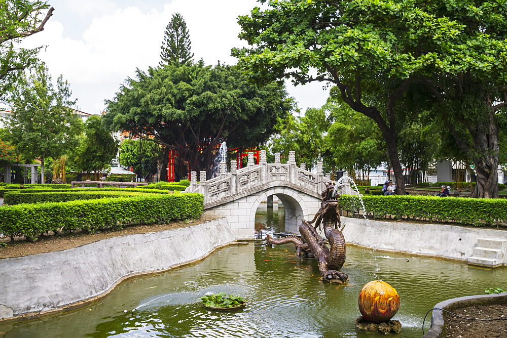 Stone bridge in the garden of Zheng Chenggong (Koxinga) Shrine, Tainan, Taiwan