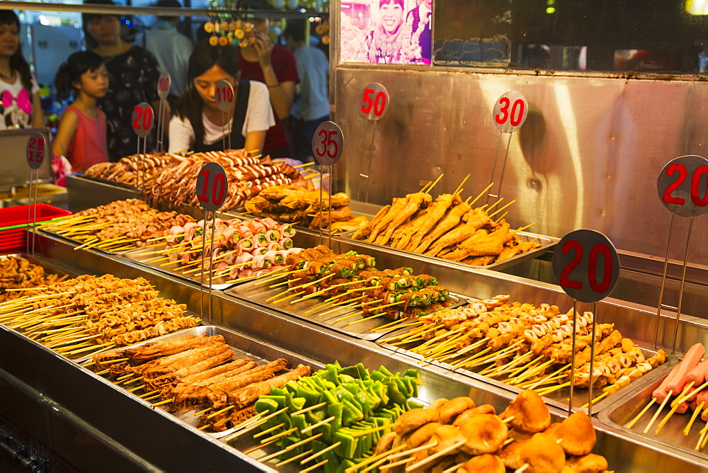 Skewers for sale at the night market, Hualien, Taiwan