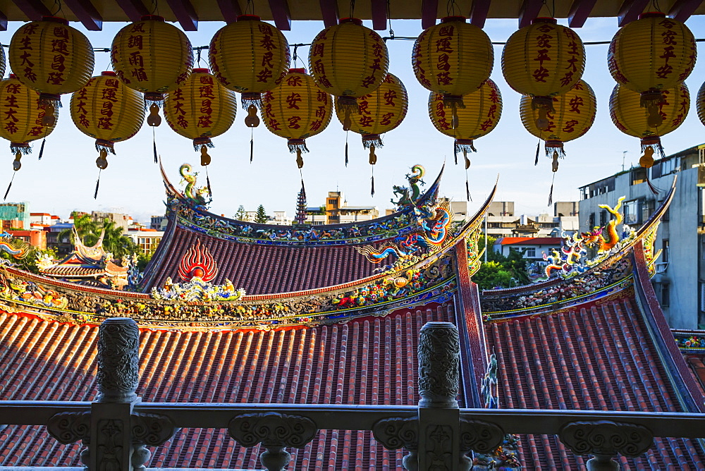 Paper lanterns and roofs of the Dalongdong Baoan Temple, Taipei, Taiwan