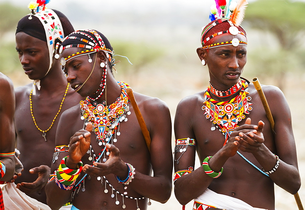 Samburu men singing and dancing, Samburu County, Kenya