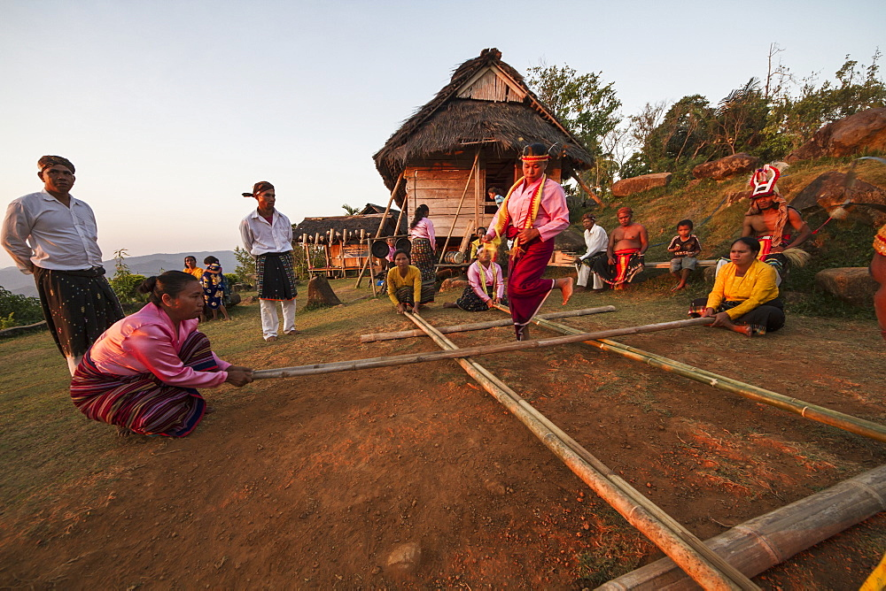 Manggarai women participating in Tetek Alu, the traditional bamboo pole jumping game, Melo village, Flores, East Nusa Tenggara, Indonesia
