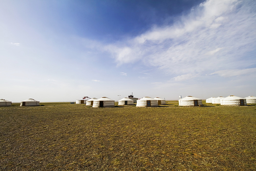 Mongolian Gers (yurts) tourist accommodation at the Gobi Tour Ger Camp, Bayanzag, South Gobi Province, Mongolia
