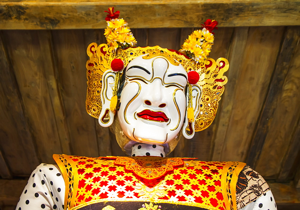 Panglembar Balinese dance mask on display at the Setia Darma House of Mask and Puppets, Tegal Bingin, Bali, Indonesia