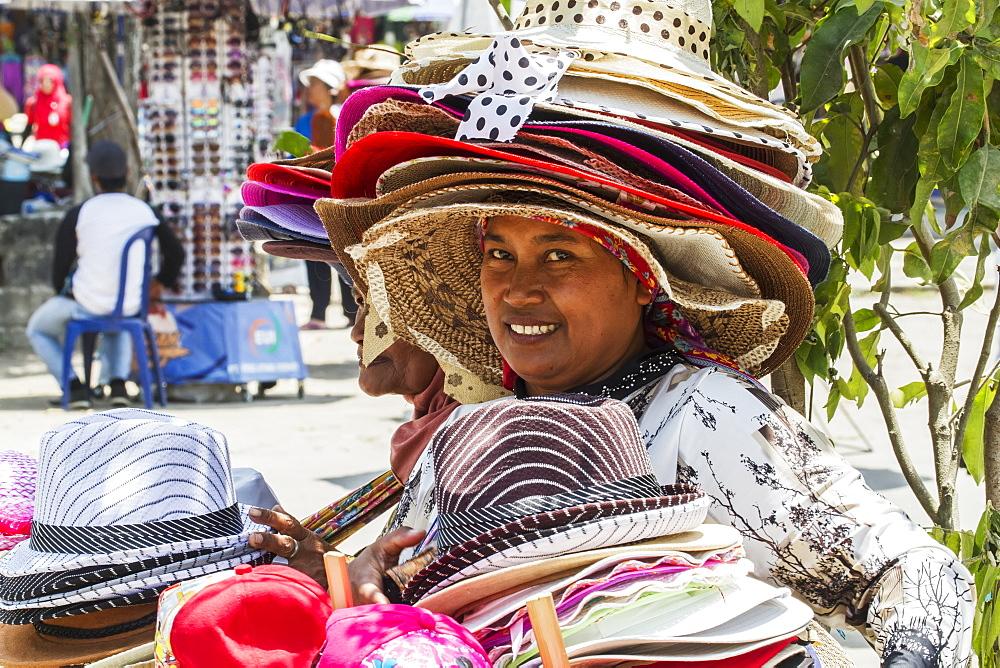 Hat vendor, Borobudur Temple Compounds, Central Java, Indonesia