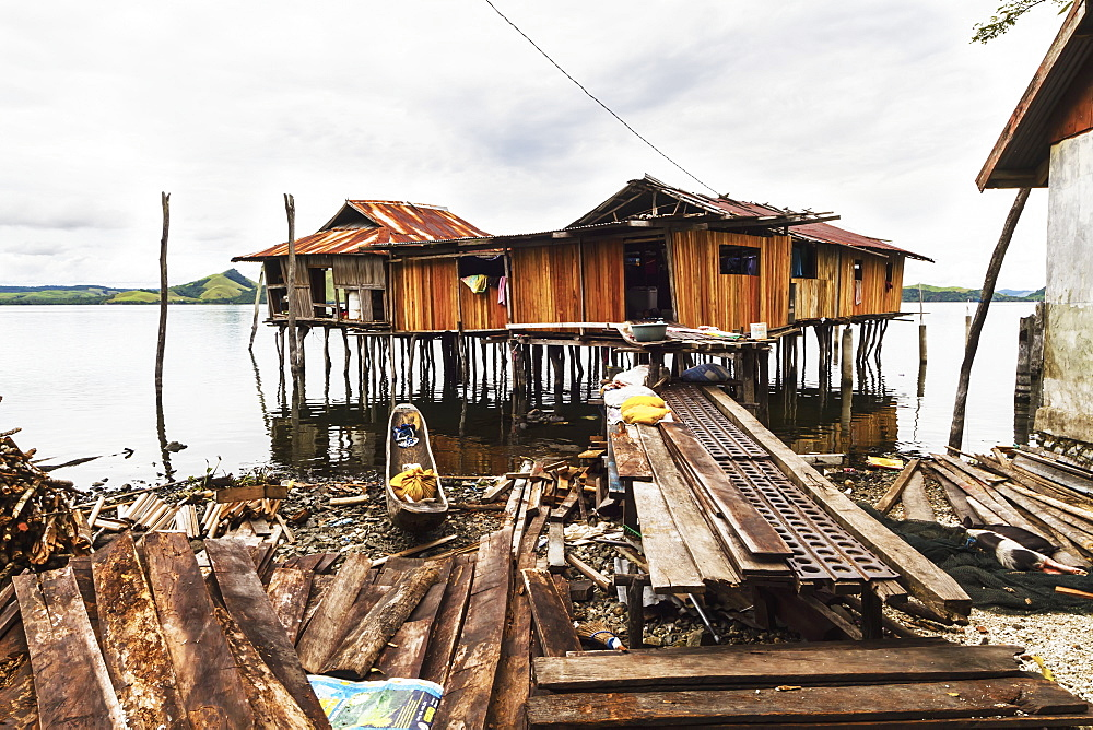 Stilt houses on Pulao Asei, island in Lake Sentani, Papua, Indonesia