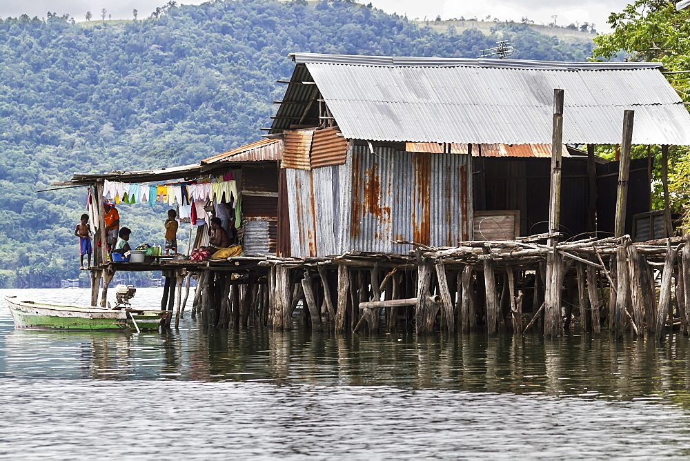 Stilt house in Kampung Ayapo, Lake Sentani, Papua, Indonesia