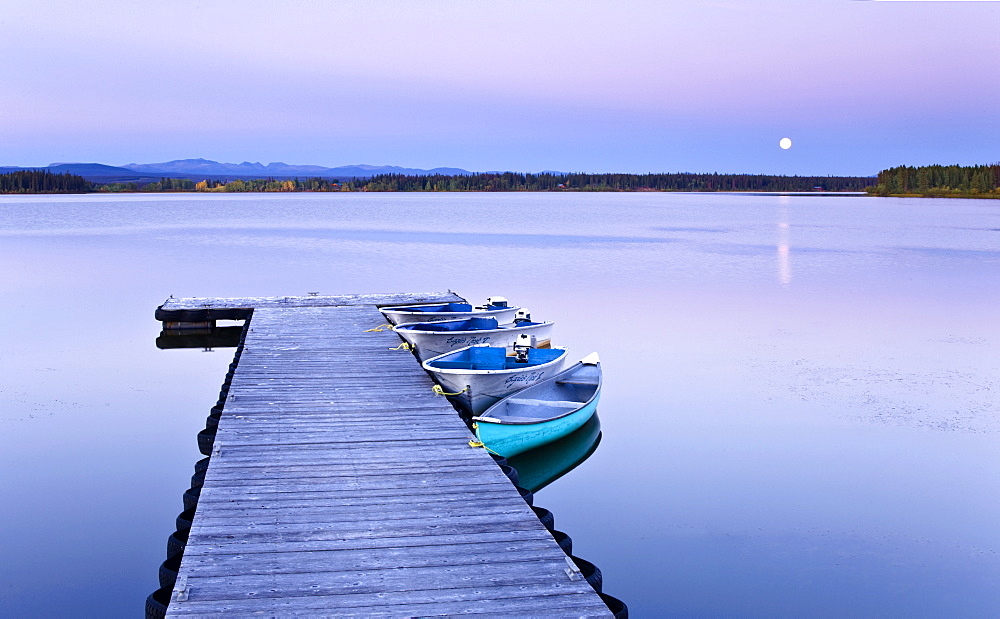 Full Moon Over Wharf, Anahim Lake, British Columbia