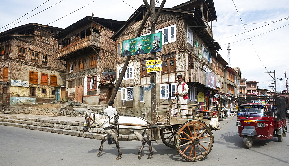 Mule cart and auto rickshaw in front of traditional buildings in the old town