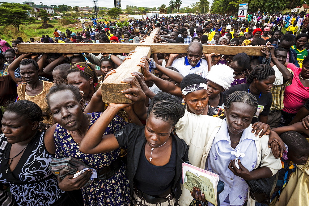 Thousands gather on Good Friday to walk through the streets and proclaim the Gift of God, Gulu, Uganda