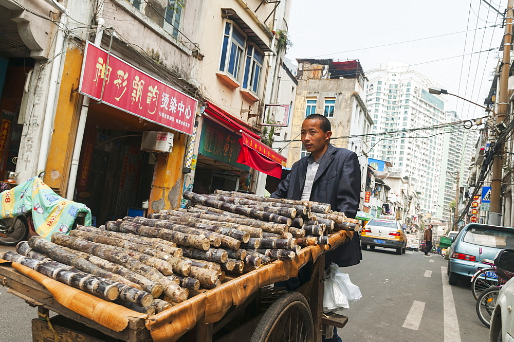 Man pushing a cart full of cut wooden logs at the traditional street market, Xiamen, Fujian province, China