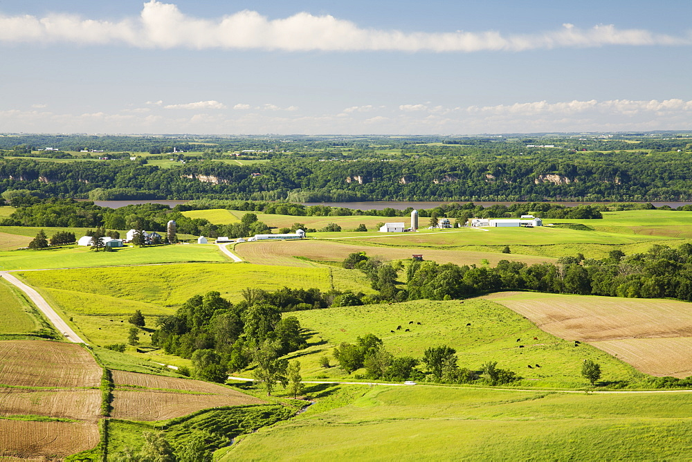 Rolling hills of farmland along the Mississippi River, near Balltown, Iowa, United States of America