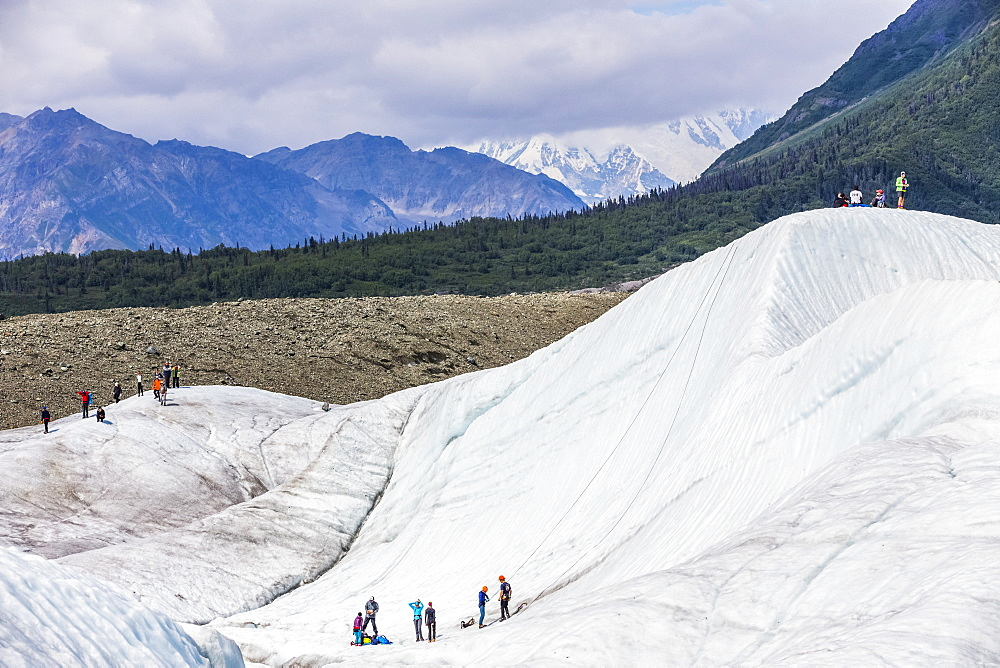 Guided groups recreate on Root Glacier in Wrangell-St. Elias National Park; Alaska, United States of America