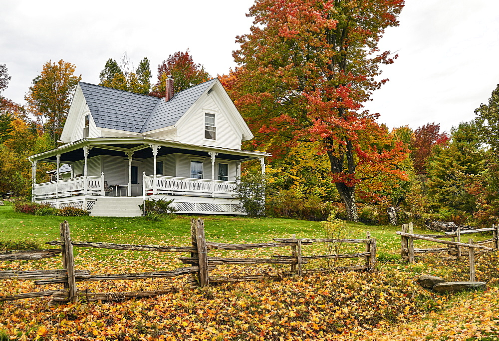 19th Century Farmhouse In Autumn; Dunham, Quebec, Canada