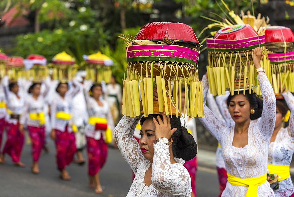 Balinese Women Carrying Offerings At A Melasti Ceremony; Kuta, Denpasar, Bali
