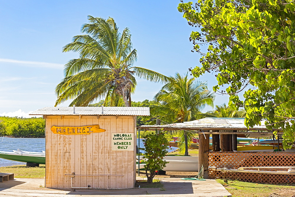 The home of the Molokai Outrigger Canoe Club on the beach, Kaunakakai, Molokai, Hawaii, United States of America