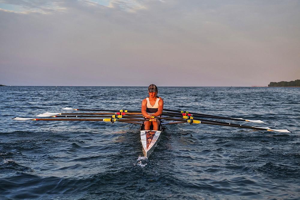 Hanlan Boat Club Junior men at morning practice in Lake Ontario, Toronto, Ontario, Canada