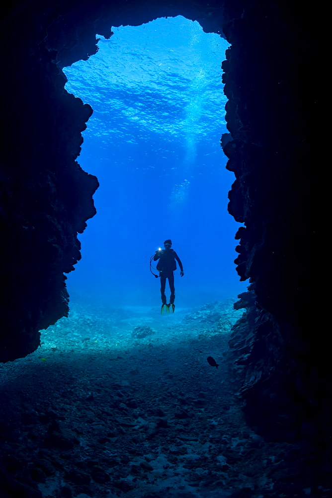 Diver at the entrance to First Cathedral off the island of Lanai, Hawaii, United States of America