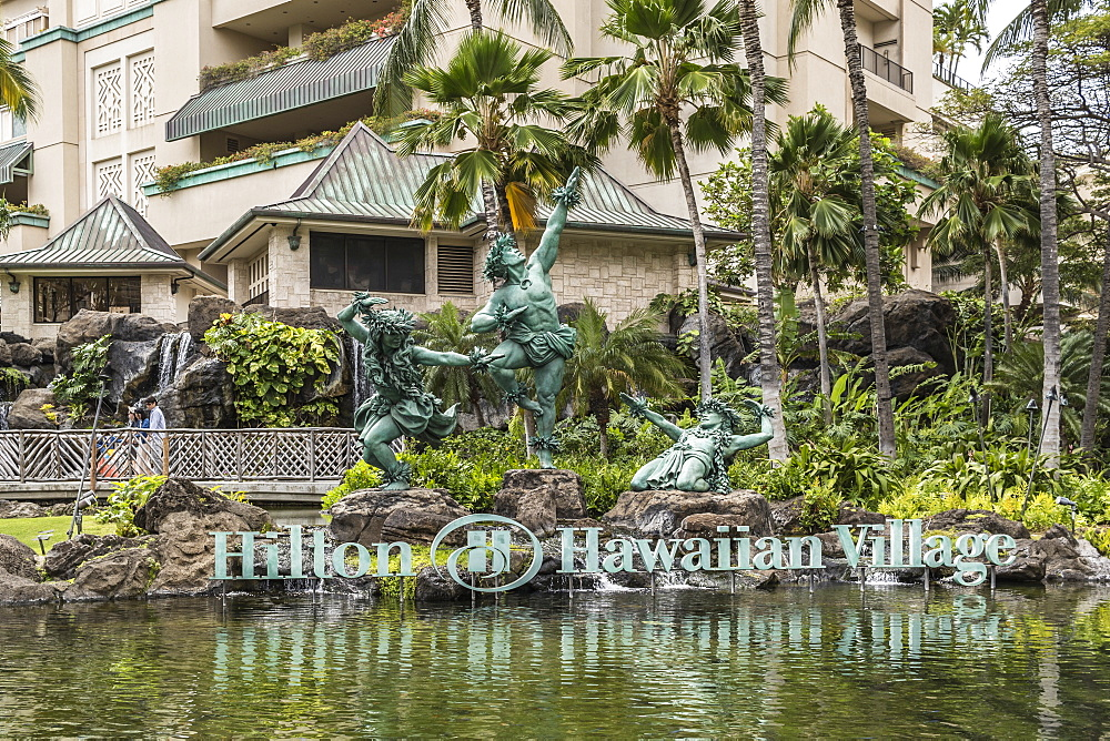 Hula Kahiko dancer statues at Hilton Hawaiian Village, Waikiki, Honolulu, Oahu, Hawaii, United States of America