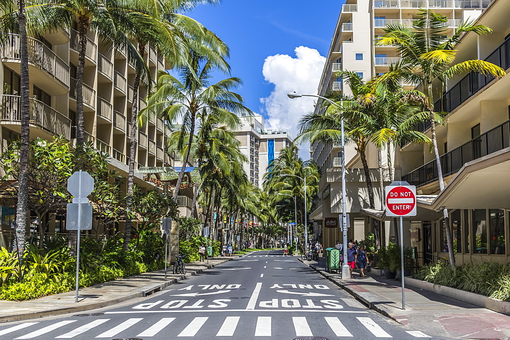 Looking up Levers Street from Kaila Road with Imperial Hawaii Resort at right, Waikiki, Honolulu, Oahu, Hawaii, United States of America