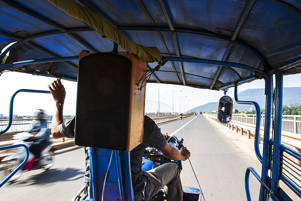 On board a tuk-tuk, Pakse, Champasak, Laos
