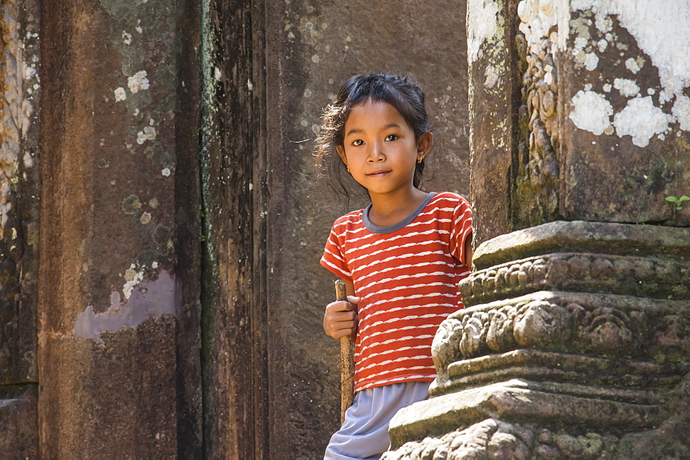 Girl at the North Quadrangle, Vat Phou Temple Complex, Champasak, Laos