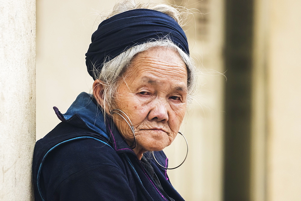 Portrait of a senior Hmong woman, Sapa, Lao Cai, Vietnam