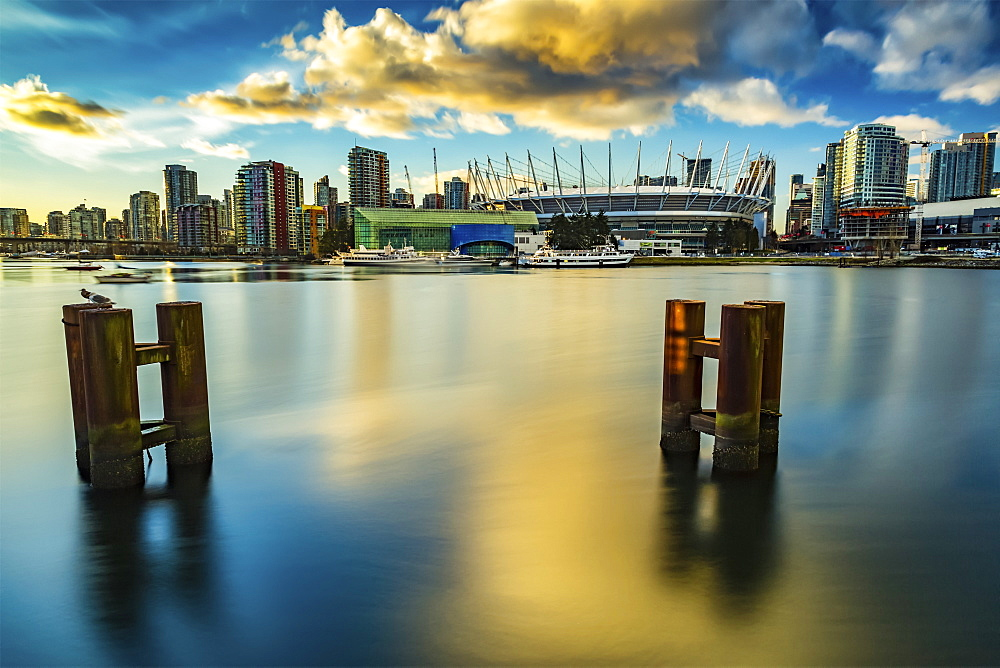 BC Place and condominiums along the waterfront, Vancouver, British Columbia, Canada - 1116-39865