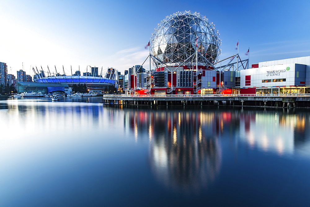 Science World, BC Place and condominiums along the waterfront, Vancouver, British Columbia, Canada