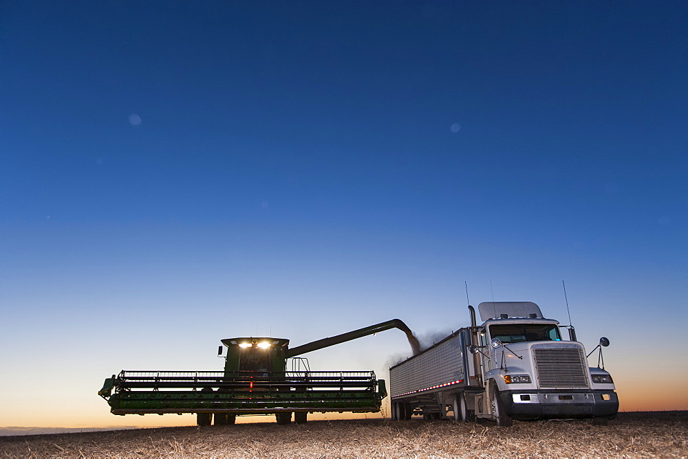 Twilight scene of combine unloading beans into grain truck during soybean harvest, near Nerstrand, Minnesota, United States of America