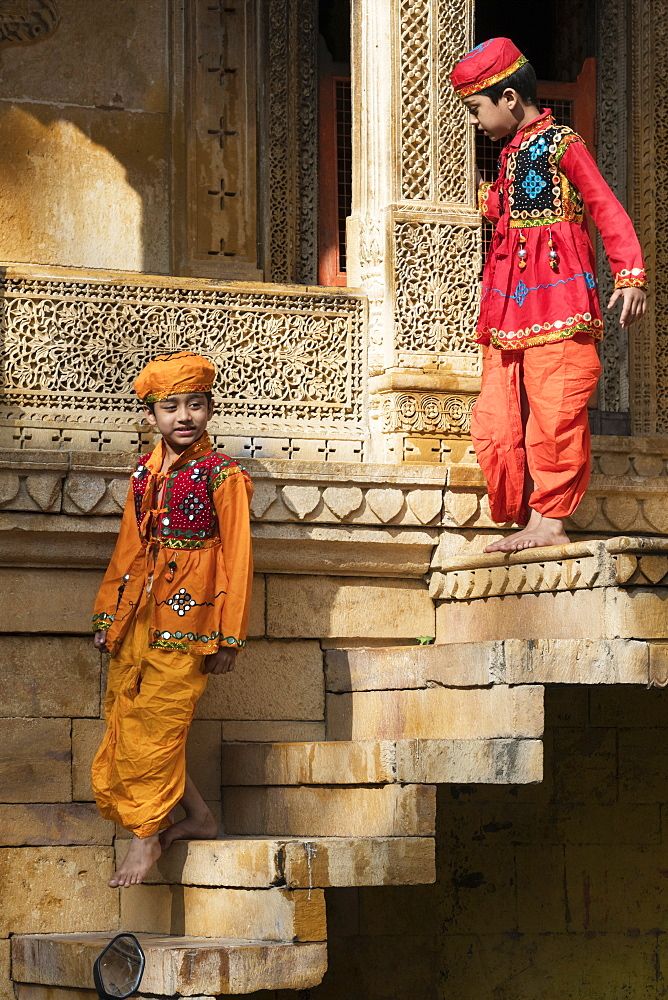 Two young Indian boys dressed in traditional clothing, Jaisalmer Fort, Jaisalmer, Rajasthan, India