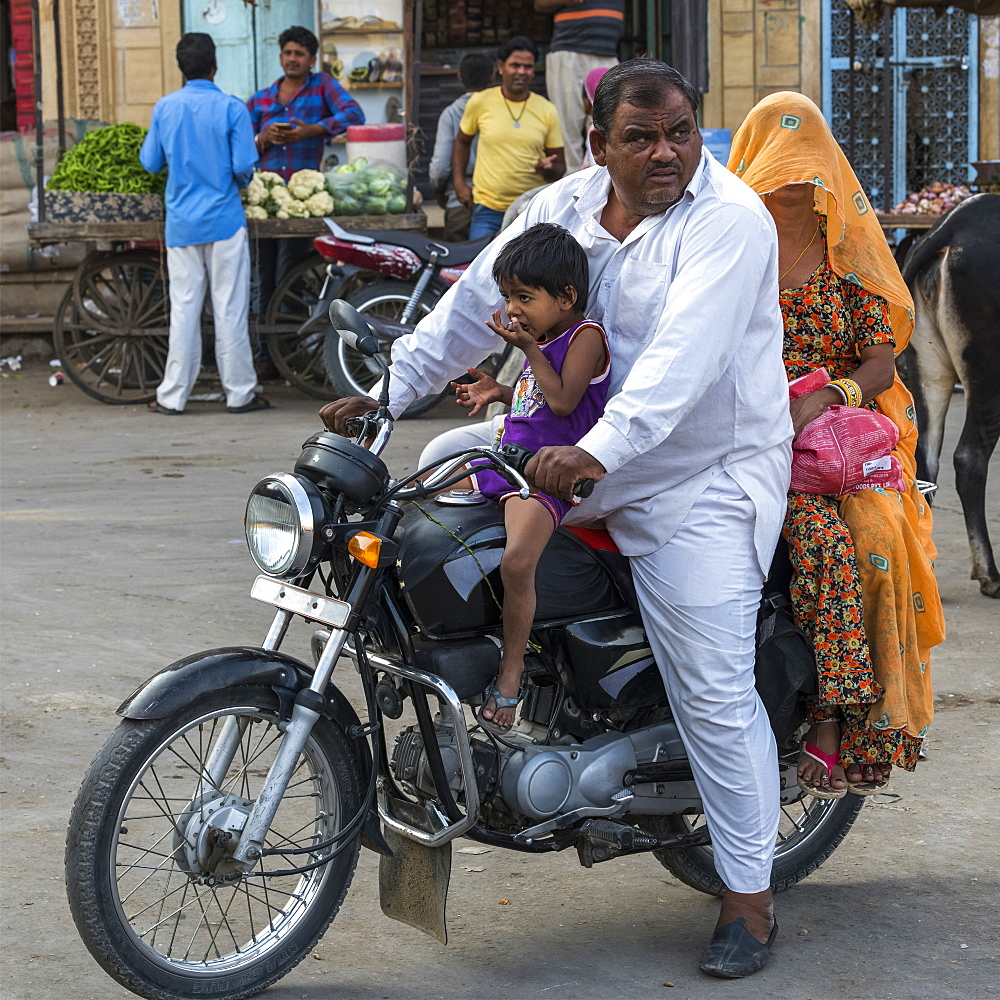 Family riding a motorcycle, Jaisalmer, Rajasthan, India