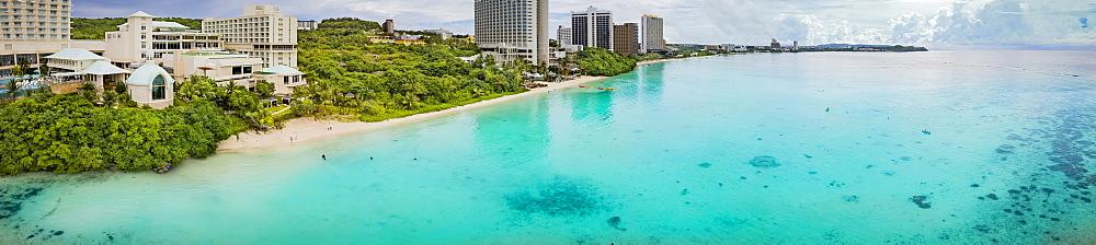 Panorama of hotels and beach on Tumon Bay, Tamuning, Mariana Islands, Guam, Micronesia