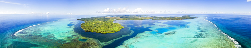 Aerial view of the outer reef and Goofnuw Channel looking south to the island of Yap, Yap, Micronesia - 1116-39923