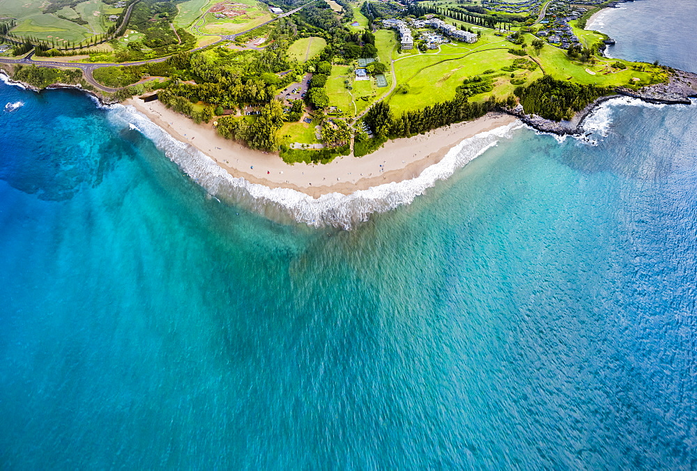 Aerial view of the Ritz-Carlton Hotel Kapalua, DT Fleming Beach Park, Honokahua Bay and Makaluapuna Point, Lahaina, Maui, Hawaii, United States of America
