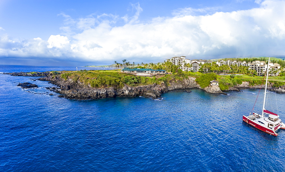 Aerial view of the Montage Resort Kapalua Bay, Cliff House and Hawea Point, Lahaina, Maui, Hawaii, United States of America