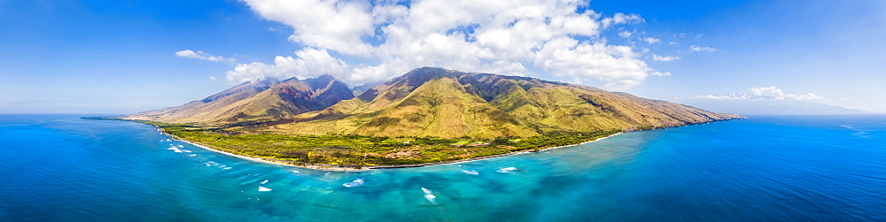Aerial view of West Maui off Ukumehame Beach Park, Lahaina, Hawaii, United States of America