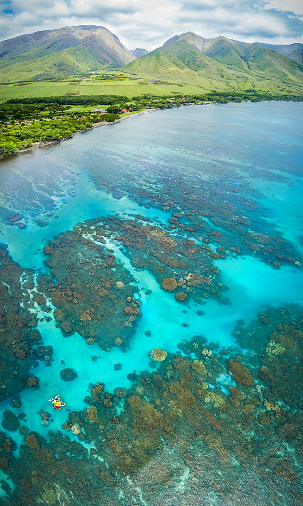 Aerial view of kayaks over the reefs off Olowalu, West Maui. Six photographs were combined for this final image, Lahaina, Maui, Hawaii, United States of America