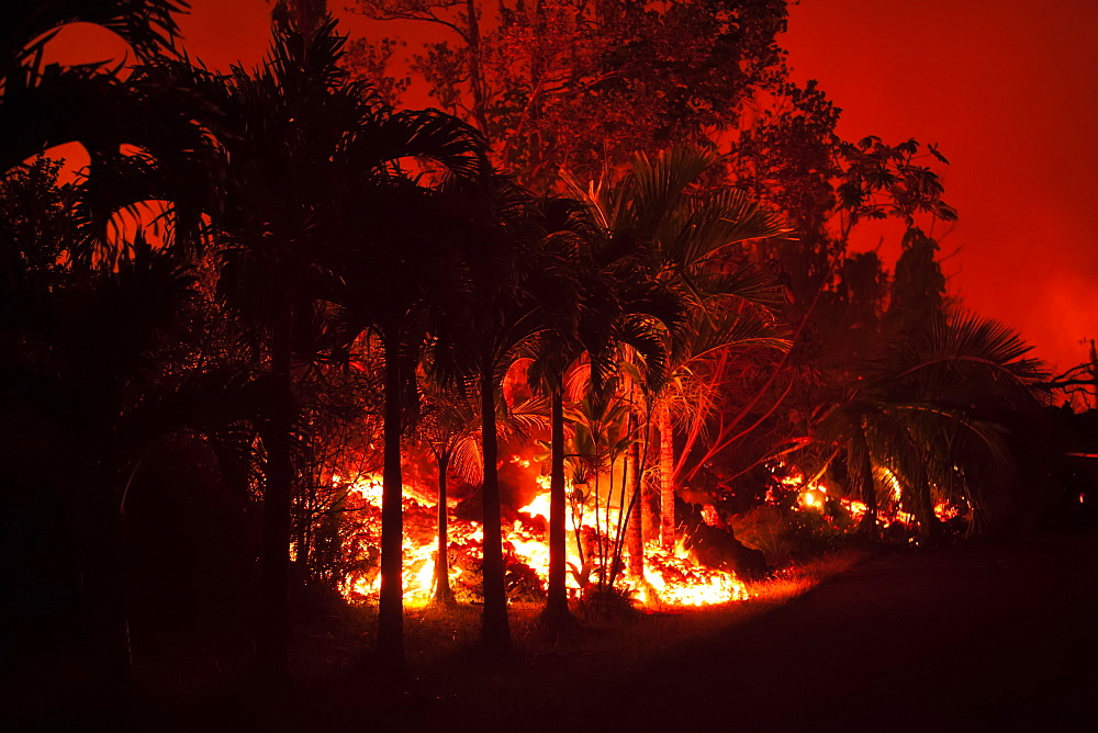 May 2018 eruption, Leilani Estates subdivision, East Rift Zone Kilauea Volcano, Big Island of Hawaii, Pahoa, Island of Hawaii, Hawaii, United States of America